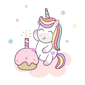 Cute unicorn vector happy birthday cake