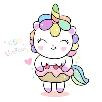 Cute unicorn vector holding birthday cake