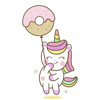 Cute unicorn vector holding donut balloon