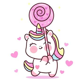 バレンタインデーのカワイイ動物の愛のキャンディーを保持しているかわいいユニコーンベクトル