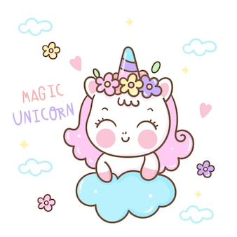 Cute unicorn vector horn with flower kawaii cartoon fairytale animal