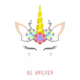 Cute unicorn vector illustration.