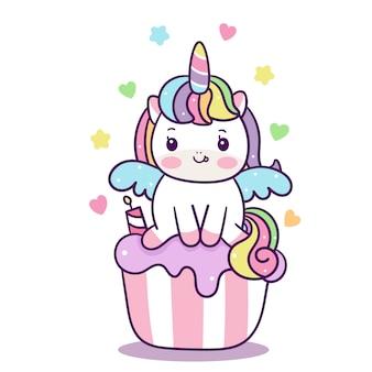 컵 케 잌은 만화에 귀여운 유니콘 벡터