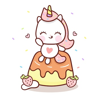 Cute unicorn vector on pudding cartoon