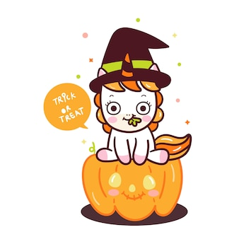 Cute unicorn vector on pumpkin cartoon