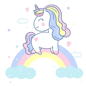 Cute unicorn vector on rainbow hand drawn style