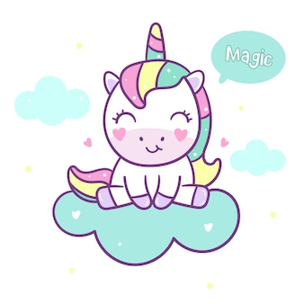 Cute unicorn vector sit on cloud