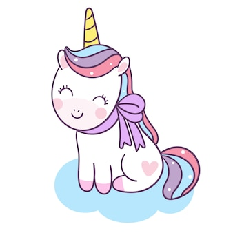Cute unicorn vector sit down on cloud