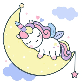 Cute unicorn vector sleeping on moon cartoon