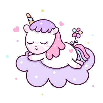 Cute unicorn vector sweet dream on the sky
