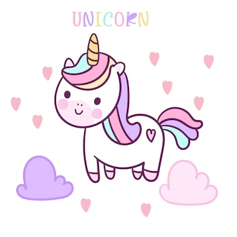 Cute unicorn vector with could