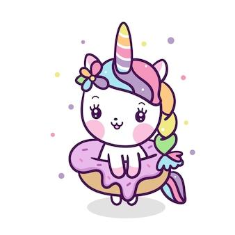 Cute unicorn vector with donut cartoon