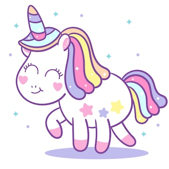 Cute unicorn vector with mini star