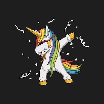 Cute unicorn wearing glasses and dabbing dance