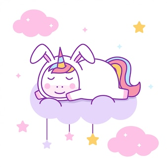Cute unicorn wearing rabbit costume