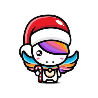 Cute unicorn wearing santa hat