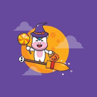 かわいいユニコーン魔女はハロウィーンの夜にほうきで飛ぶかわいいハロウィーンの漫画イラスト