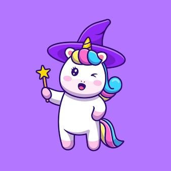 Cute unicorn witch holding wand magic star stick cartoon icon illustration