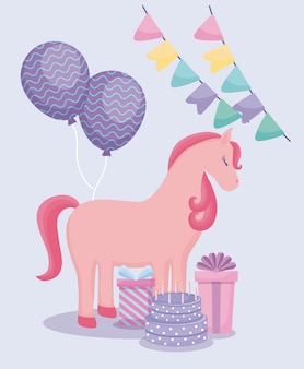 Cute unicorn with balloons helium and set icons