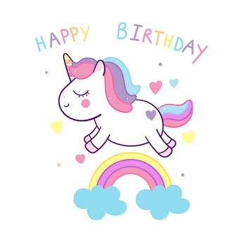 Cute unicorn with birthday rainbow