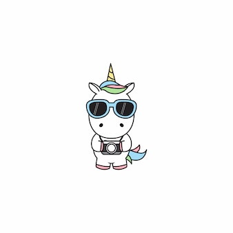 Cute unicorn with camera cartoon vector