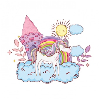 Cute unicorn with castle and rainbow in cloud