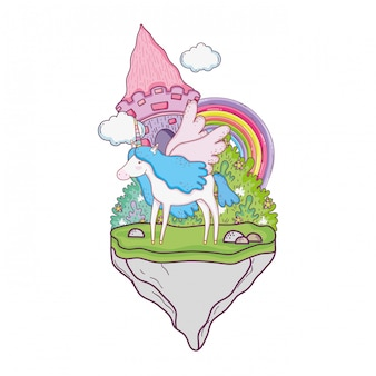 Cute unicorn with castle and rainbow