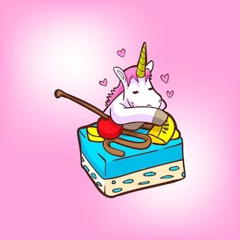Cute unicorn with cheese cake
