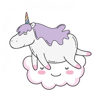 Cute unicorn with cloud kawaii character