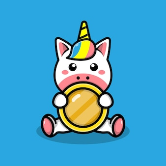 Cute unicorn with coins illustration