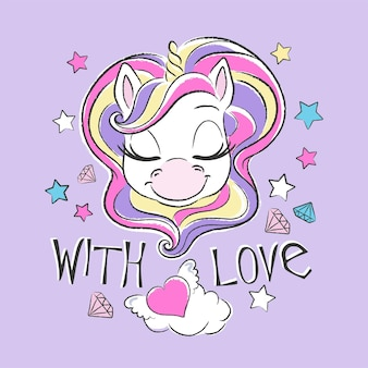 Cute unicorn with colourful hair and stars, with love illustration