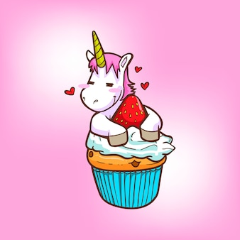 Cute unicorn with cupcake