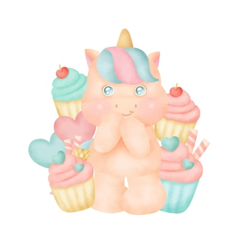 Cute unicorn with cupcakes