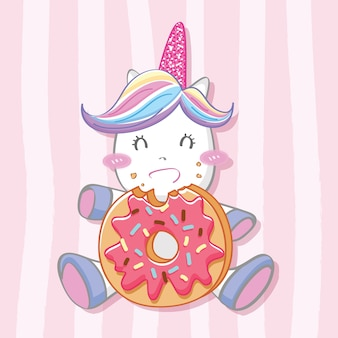 Cute unicorn with donut background
