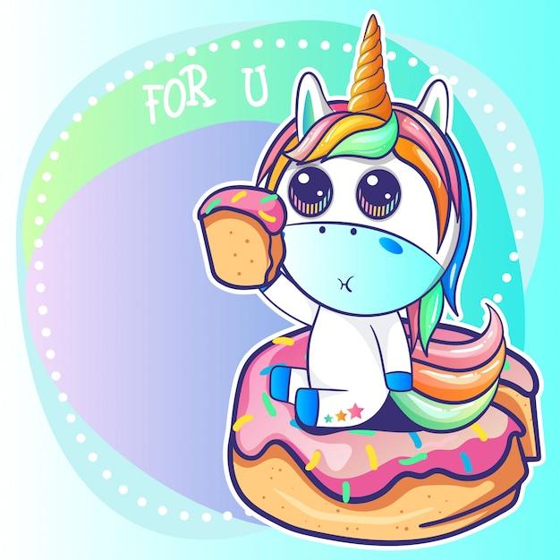 Cute unicorn with a donut cartoon
