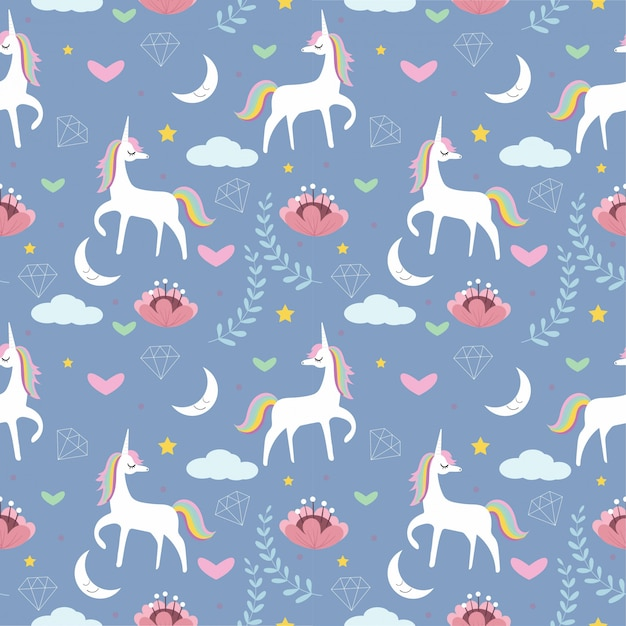 Cute unicorn with flower, star, moon, diamond seamless pattern