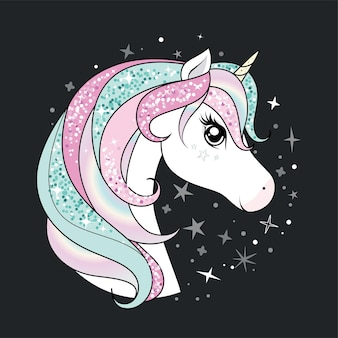 Cute unicorn with glittering and rainbow hair over dark background with stars.