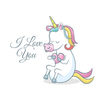 Cute unicorn with heart. i love you message
