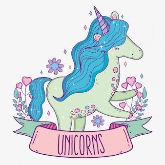 Cute unicorn with hearts and branches leaves