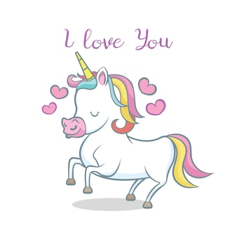 Cute unicorn with hearts. i love you message