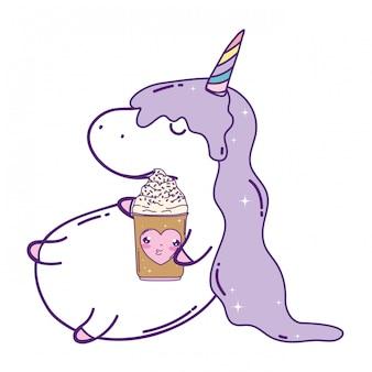 Cute unicorn with ice cream kawaii