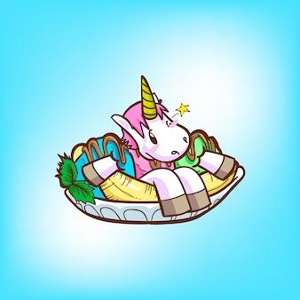 Cute unicorn with ice cream