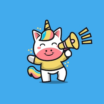 Cute unicorn with megaphone cartoon illustration