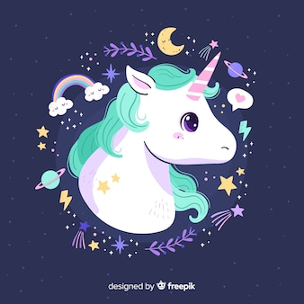 Cute unicorn with pastel color frame