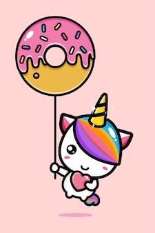 핑크 디저트 모양의 풍선과 함께 귀여운 유니콘