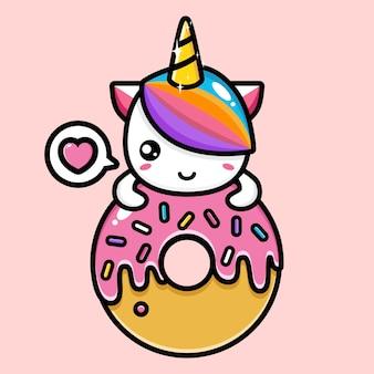 핑크 디저트와 함께 귀여운 유니콘