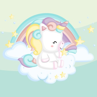 A cute unicorn with a rainbow on the background