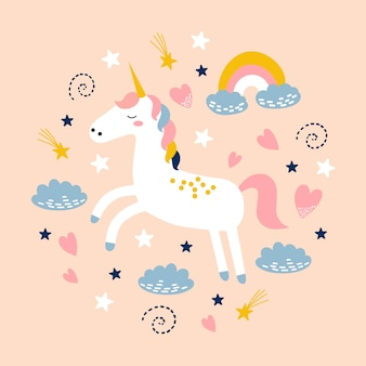 Cute unicorn with rainbow, cloud and stars.