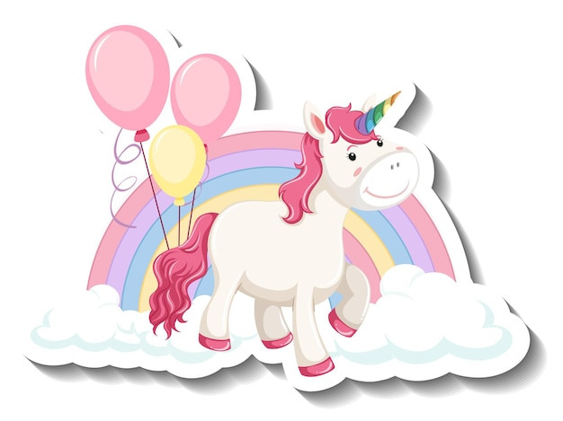 Cute unicorn with rainbow and clouds on white background
