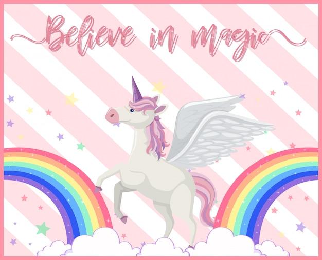 A cute unicorn with rainbow